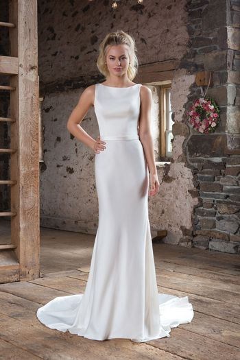Sweetheart Gowns Style 1104 High-Neck Satin Dress with Lace Square Back