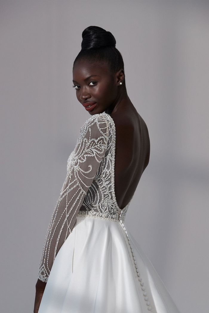 Justin Alexander Signature Style 99184 Portsmouth Beaded A-Line Gown with Notched Sabrina Neckline and Mikado Skirt