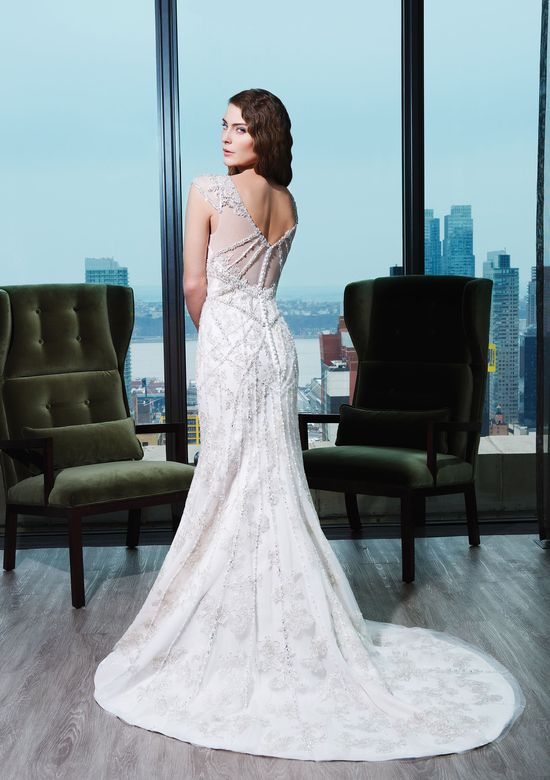 Justin Alexander Signature Style 9760 Tulle; beaded embroidery fit and flare dress with a V-neck