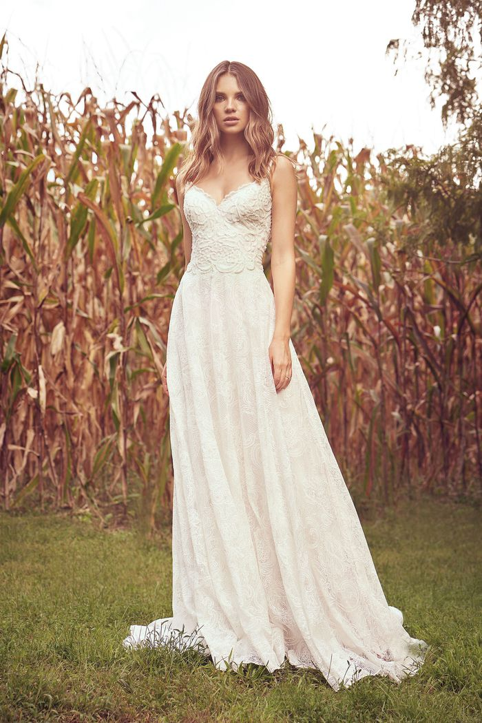 Lillian West Style 66060 Allover Embroidered Lace A-Line Gown