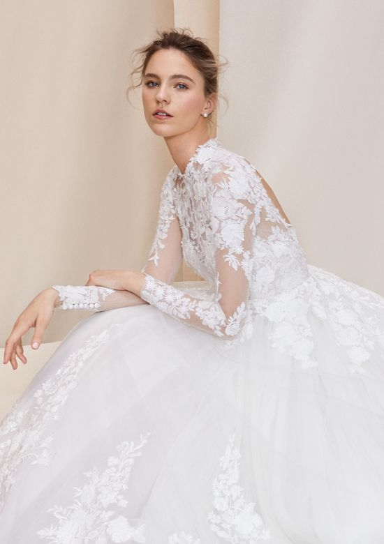 Justin Alexander Signature style 99071 Cambridge Long Sleeve Laser Cut Lace Ball Gown