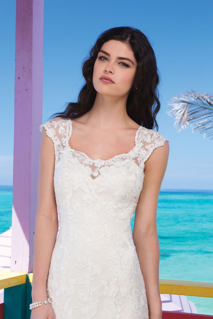 Sincerity Bridal Style 3785 Lace and Tulle Overlay on Charmeuse Slip Gown