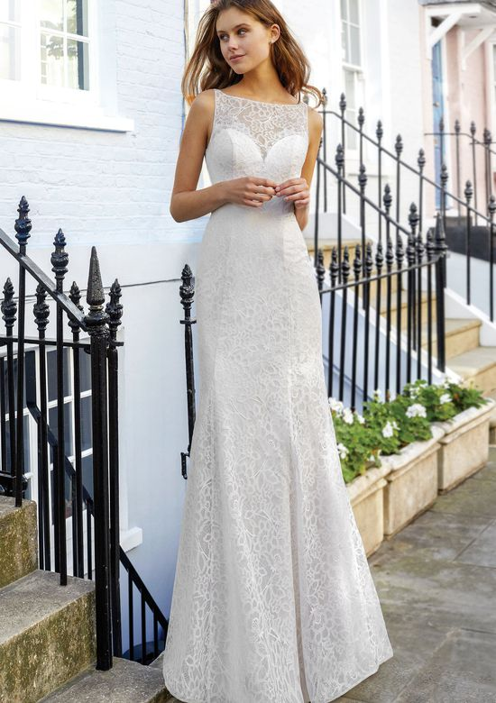 Adore by Justin Alexander Style 11128 Sabrina Fit and Flare with Allover Lace and Detachable Train