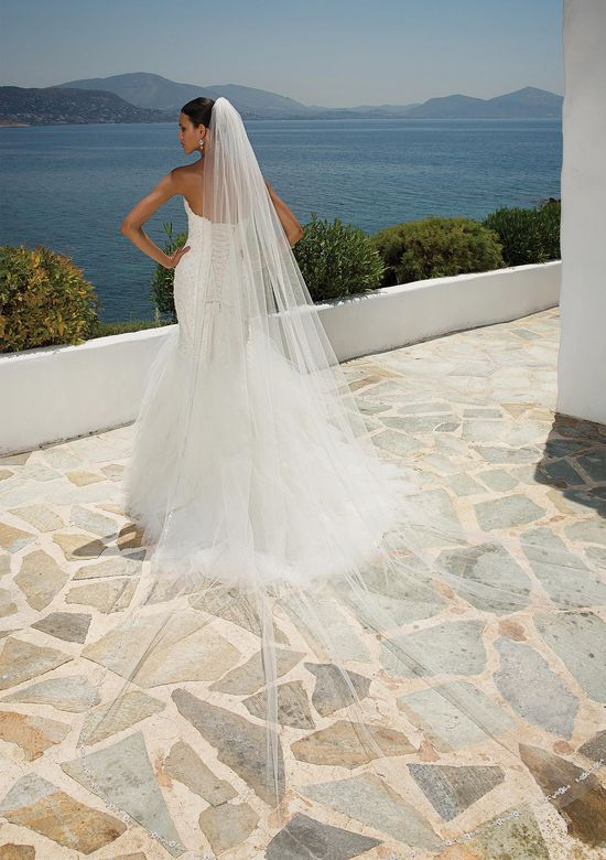 Justin Alexander Style 8899 Beaded Lace Mermaid Gown with Tulle Handkerchief Skirt