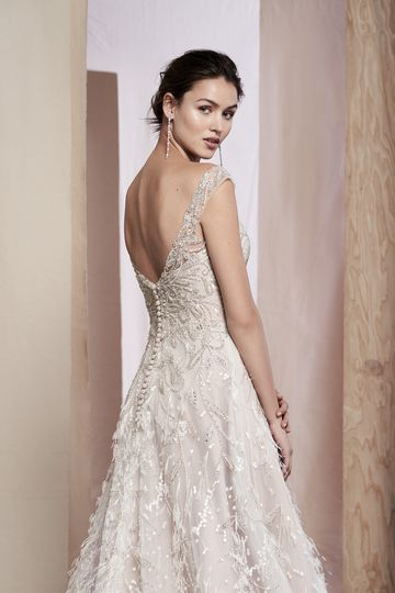 Justin Alexander Signature Style 99085 Hazel Feather Detail Organza Gown