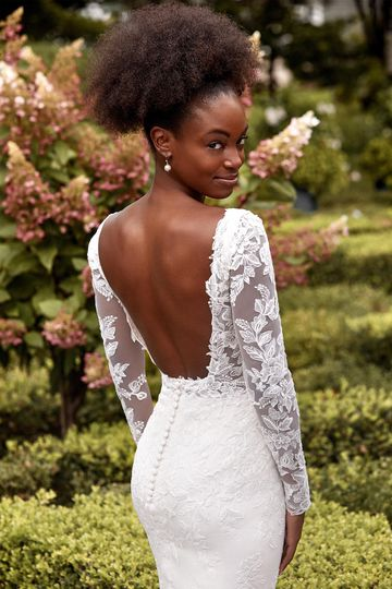Sincerity Bridal Style 44283SL Long Sleeves with Sequined Lace Appliqués