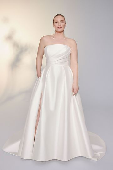 Justin Alexander Signature Style 99173PS Beacon Plus Size Stretch Mikado A-Line Gown with Straight Neckline and Skirt Slit