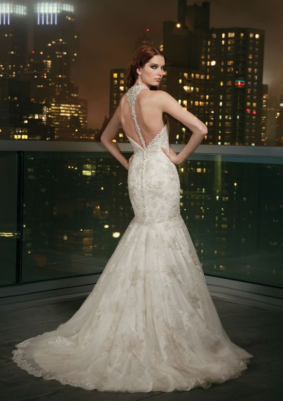 Justin Alexander Signature Style 9704 Tulle mermaid dress with a halter neckline