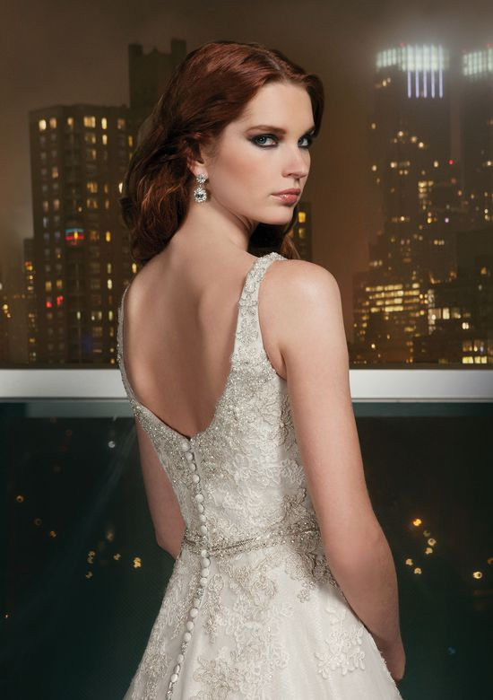 Justin Alexander Signature Style 9713 Tulle A-line dress featuring a scoop neckline