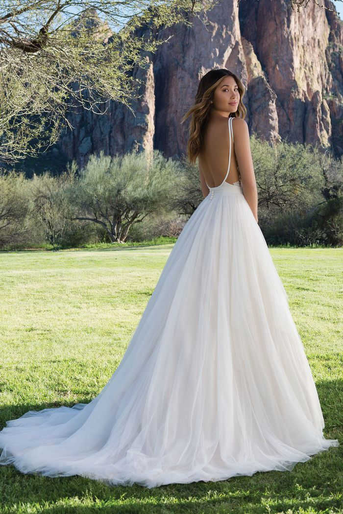 Sweetheart Gowns Layered English Net Ball Gown with Low Scoop Back