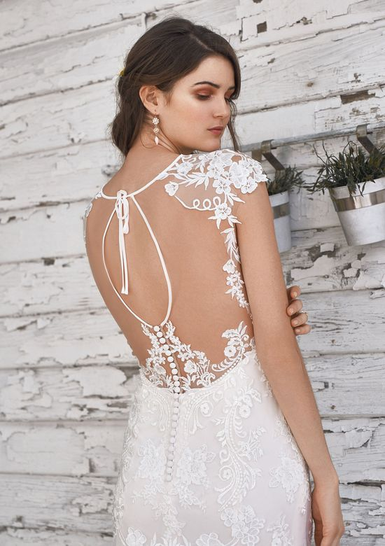 Lillian West Style 66048 Lace Fit and Flare Gown with Unique Keyhole Back