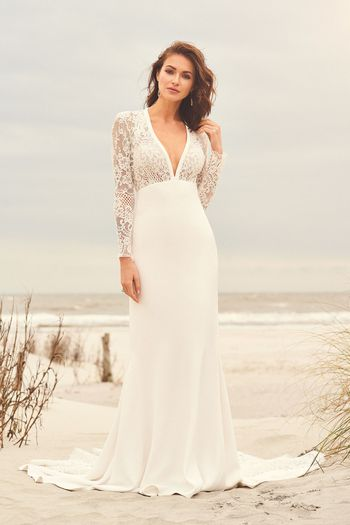 Lillian West Style 66096 Long Sleeve Lace Gown with Crepe Fit and Flare Skirt