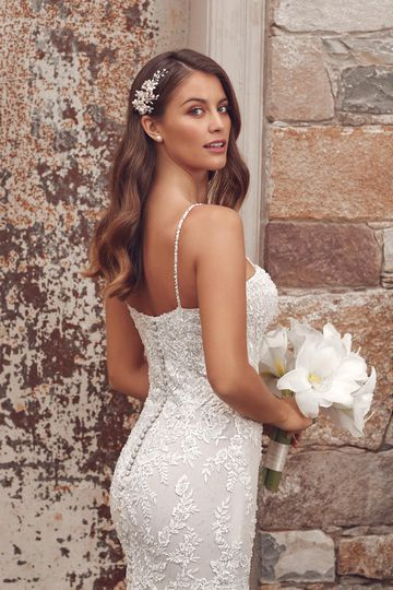 Justin Alexander Style 88156 Anika Beaded Embroidered Lace Fit and Flare Gown with Spaghetti Straps
