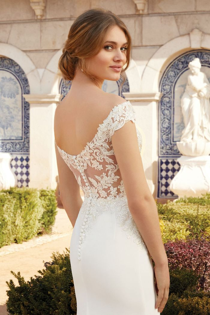 Sincerity Bridal Style 44237 Off the Shoulder Crepe Fit and Flare Wedding Dress