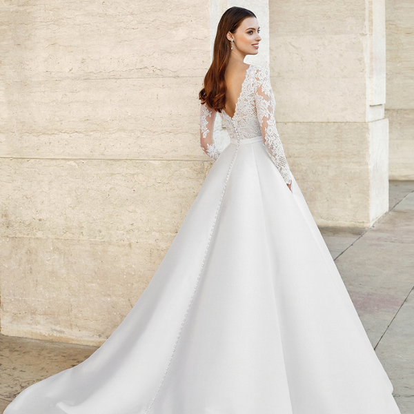 Adore by Justin Alexander Style 11149 Long Sleeve Gown with Plunging Neckline and Mikado Skirt