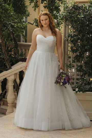 Sincerity Bridal Style 44055PS Allover Lace Plus Size Ball Gown with Tulle Overlay