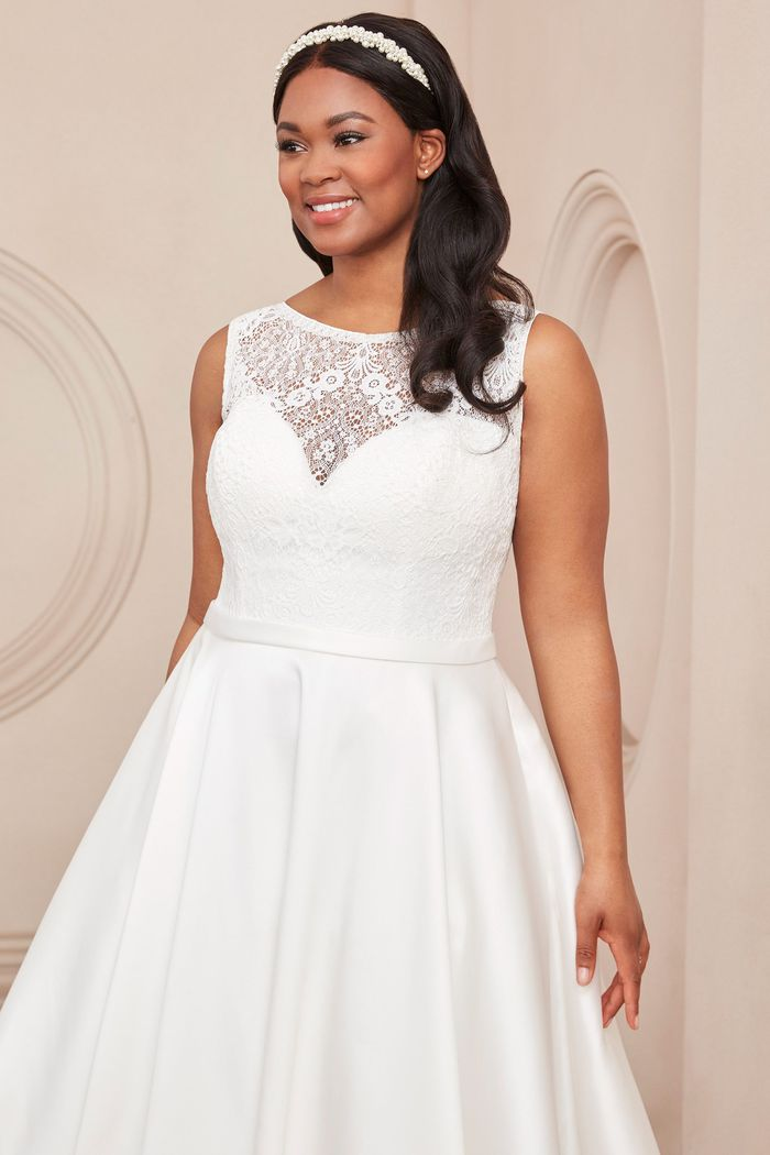 Adore by Justin Alexander Style11110PS Mikado Plus Size A-Line Dress with Sabrina Neckline
