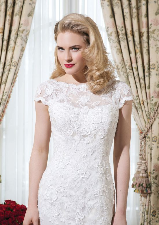 Justin Alexander Style 8754 Embroidered lace fit and flare dress accented by a Sabrina neckline