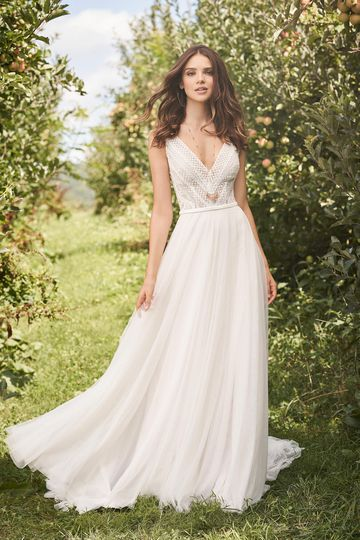 Lillian West Style 66122 V-Neck Gown with A-Line English Net Skirt and Mikado Bias Belt