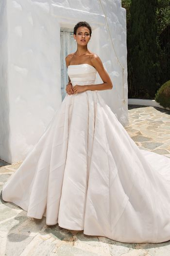 Justin Alexander Style 8880 Geometric Organza Trim on Strapless Ball Gown
