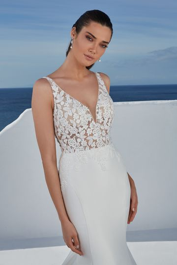 Justin Alexander Style 88181 Brady Fit and Flare Gown with Floral Appliqués and Illusion Train