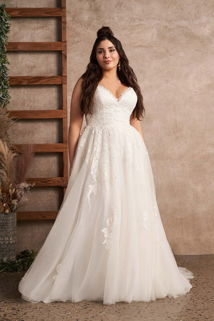 Lillian West Style 66142PS Plus Size Tulle A-Line Dress with V-Neckline