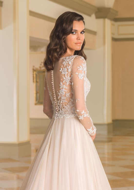 Justin Alexander Style 8873 Tulle Ball Gown with Illusion Sleeves and Beaded Bodice
