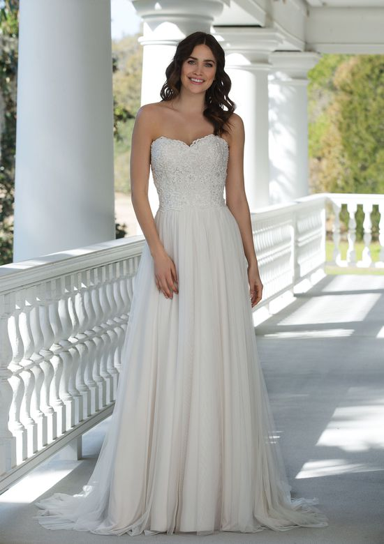 Sincerity Bridal Style 3947 Beaded Cotton Embroidered Lace Slim A-Line Gown