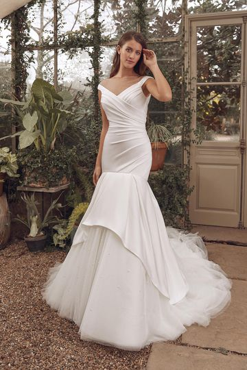 Justin Alexander Style 88137 Amara Stretch Satin Mermaid Gown with Pearl Adorned Apron Tulle Skirt