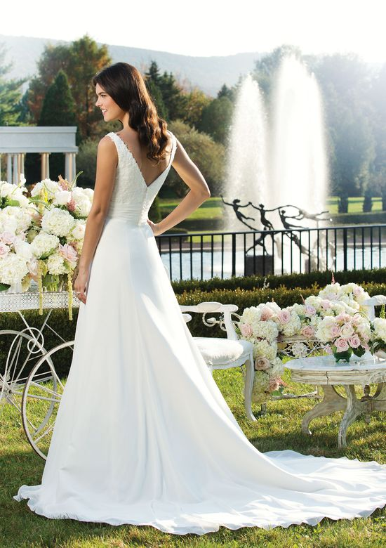 Sincerity Bridal Style 3751 Chiffon A-line dress accented with a V-neck neckline