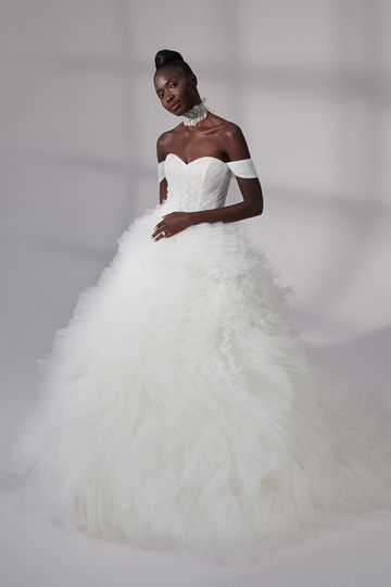 Justin Alexander Signature Style 99189 Grant Pleated Tulle Ball Gown with Ruffle Skirt and Detachable Straps