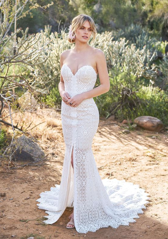 Lillian West Geometric Lace Sweetheart Fit and Flare Gown with Center Slit