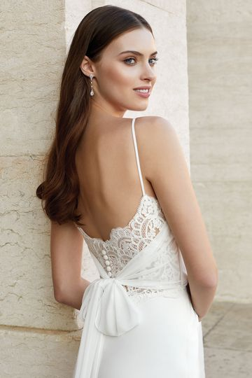 Adore by Justin Alexander Style 11140 Stretch Crepe Fit and Flare with Chiffon Tie Back
