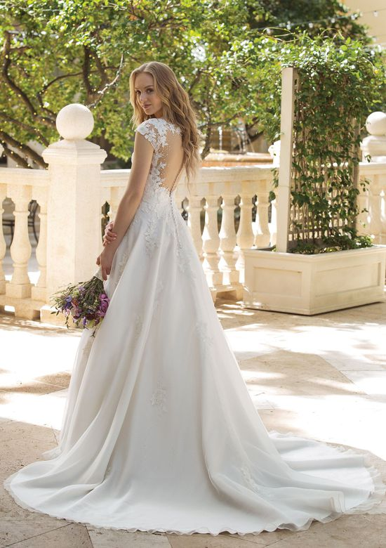 Sincerity Bridal Style 44088 Beaded Cap Sleeves on Organza A-line Dress