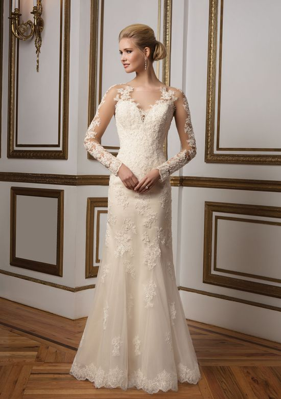 Justin Alexander Style 8812 Illusion Lace Sleeves and Beaded Gown