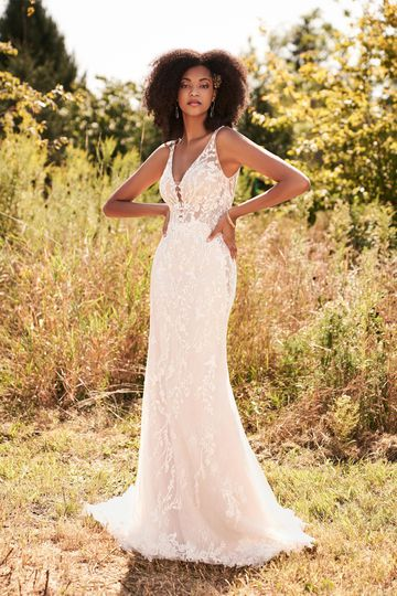 Lillian West Style 66183 Beaded Lace Dress with Plunging V-Neck and Illusion Side Cutouts