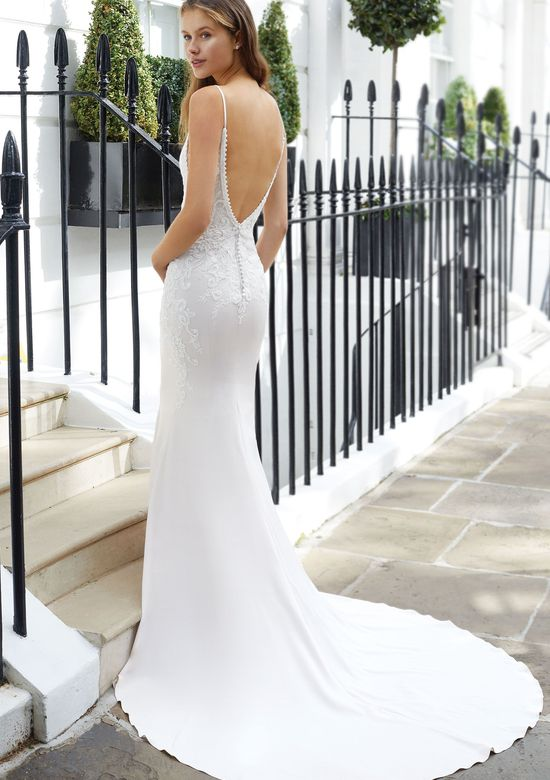 Adore by Justin Alexander Style 11126 Bikini Neck Crepe Fit and Flare with Beaded Embroidery and Plunge