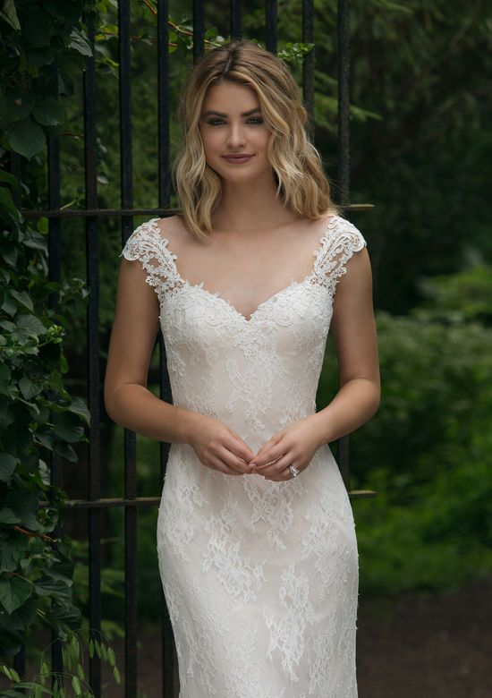 Sincerity Bridal Style 44053 Slim Allover Lace Gown with Low Back
