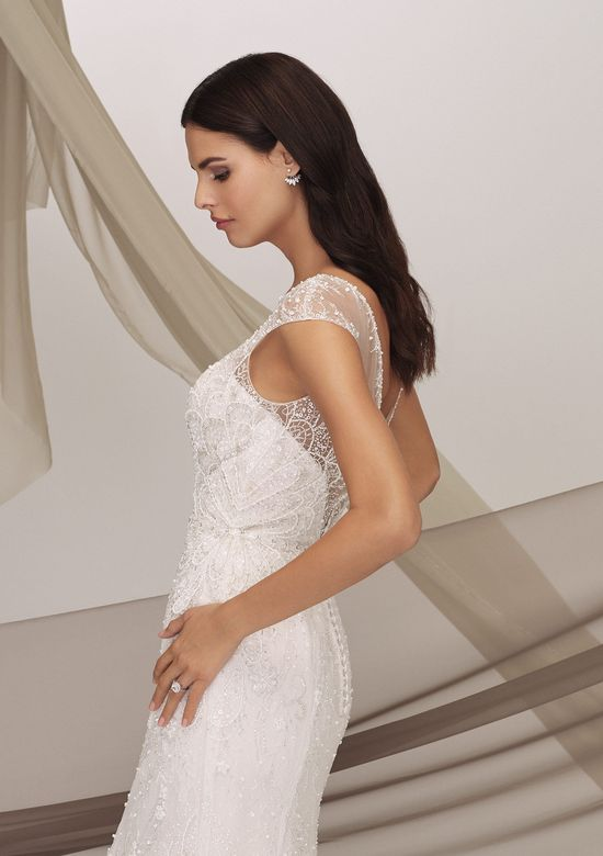 Justin Alexander Signature Style 99133 BEXLEY Illusion Sabrina Neckline Dress with Beading and Cap Sleeves