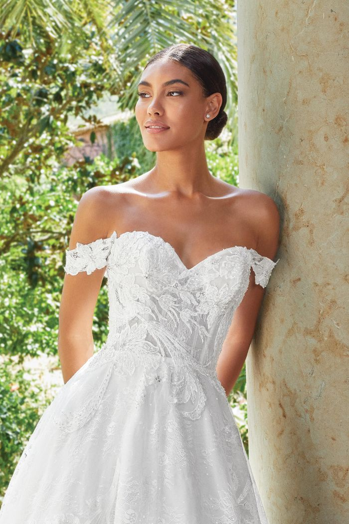 Sincerity Bridal Style 44200 Beaded Lace Ball Gown with Draped Off The Shoulder Straps