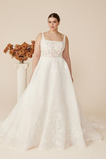Justin Alexander Style 88221PS Charlotte Plus Size Square Neckline Organza A-Line Gown