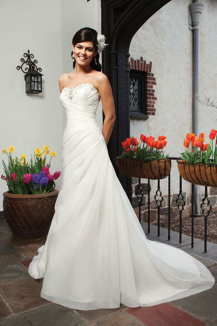 Sincerity Bridal Style 3726 Organza A-line dress complemented by a sweetheart neckline