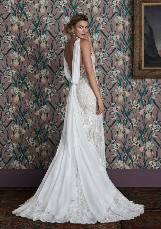 Justin Alexander Signature Style 99154 ETTA Lace Wedding Dress with Low Back and Detachable Chiffon Streamer