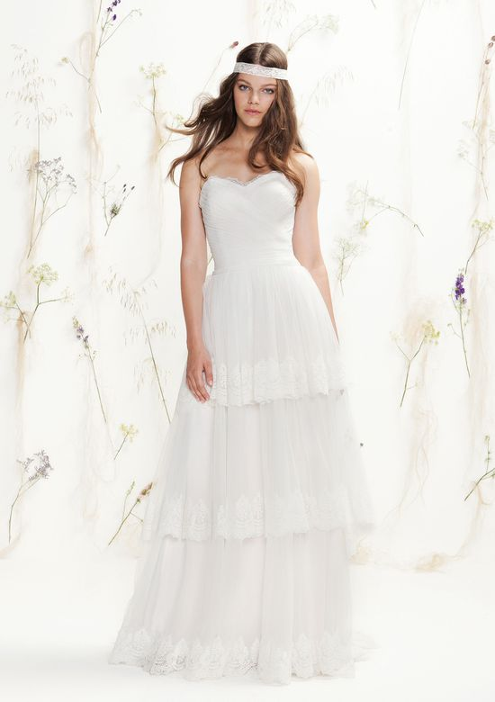 Lillian West Style 6413 Draped Tulle and Lace Sweetheart Gown with Tiered Tulle Skirt