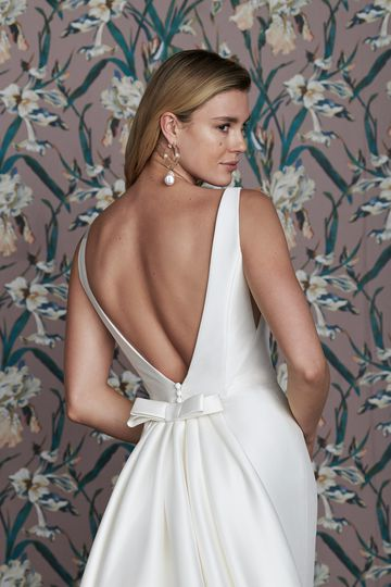 Justin Alexander Signature Style 99143 CHARLIE Square Neckline Mikado Fit and Flare Gown with Deep V-Back