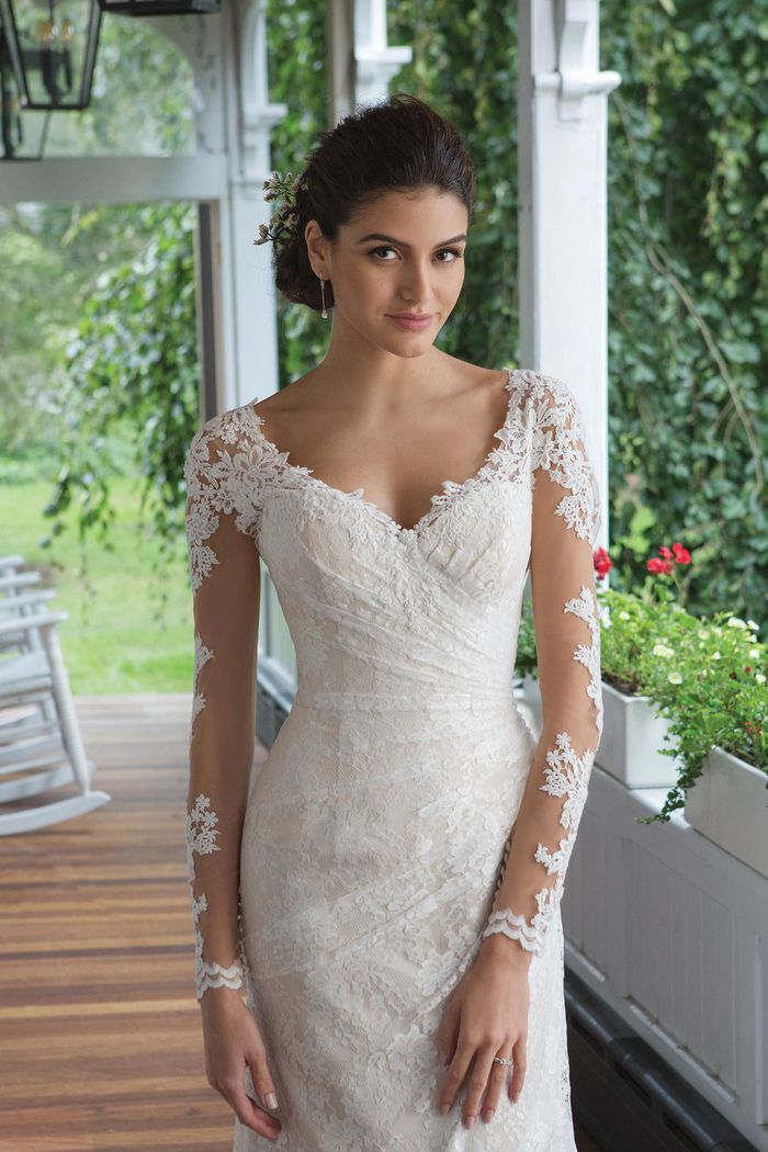 Sweetheart Gowns Style 11086 Long Sleeve Corset Back Gown