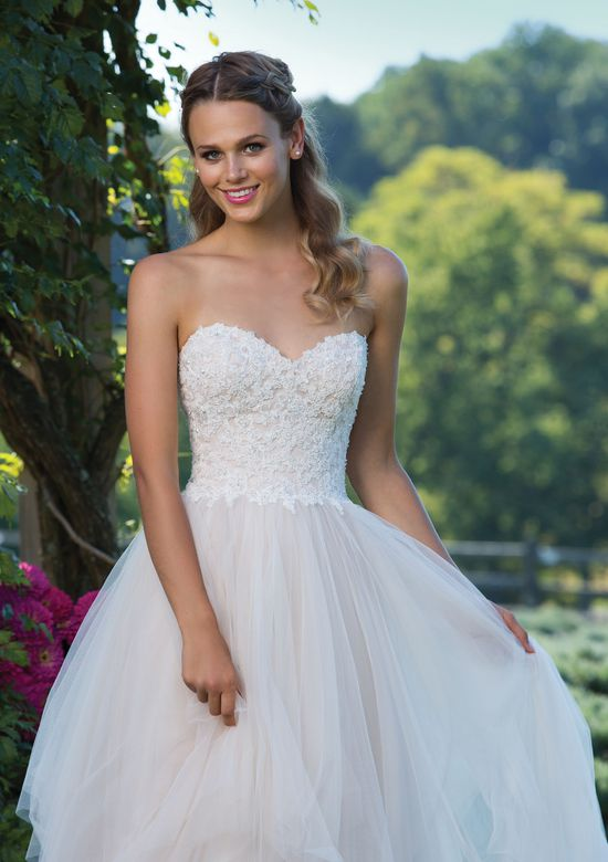 Sincerity Bridal Beaded Lace and Handkerchief Tulle Ball Gown with Sweetheart Neckline