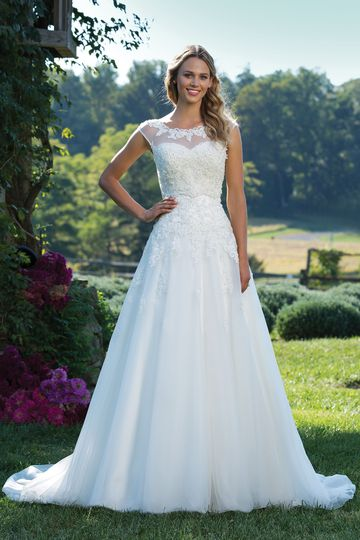 Sincerity Bridal Style 3771 Beaded Lace Ball Gown with Sabrina Neckline