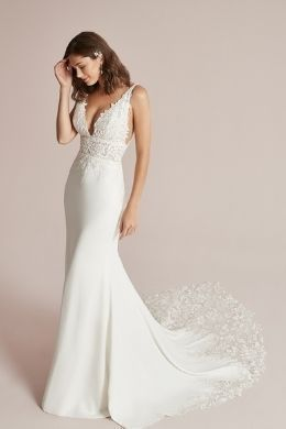 Justin Alexander Style 88209 Cecile Plunging V-Neck Fit and Flare Wedding Dress with Illusion Train