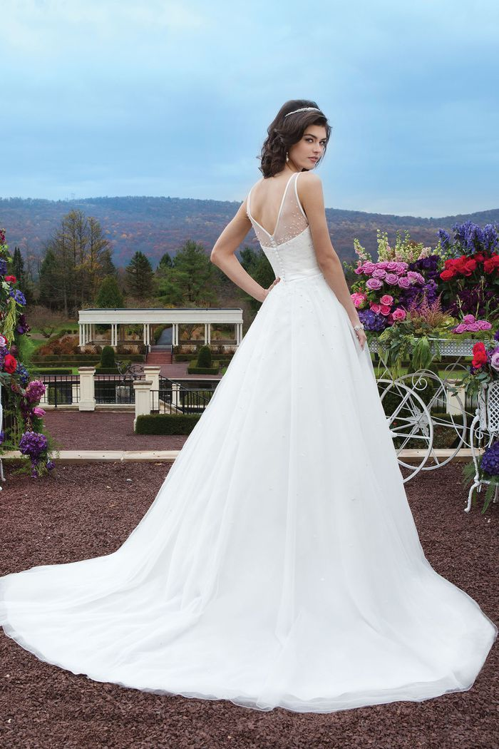 Sincerity Bridal Style 3812 Tulle A-line dress accentuated by a Sabrina neckline